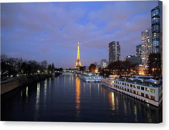 Eiffel Tower Over The Seine Canvas Print