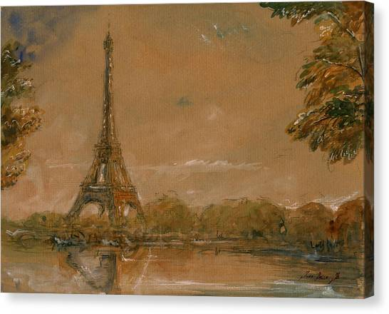 Eiffel Tower Canvas Print - Eiffel Tower Paris Watercolor by Juan  Bosco