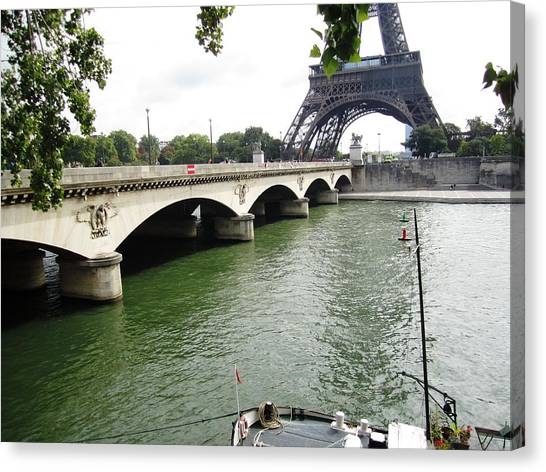 Eiffel Tower Seine River II Paris France Canvas Print