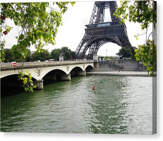 Eiffel Tower Seine River Paris France Canvas Print
