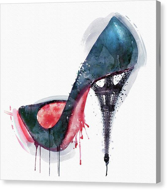 Affordable Canvas Print - Eiffel Tower Shoe by Marian Voicu