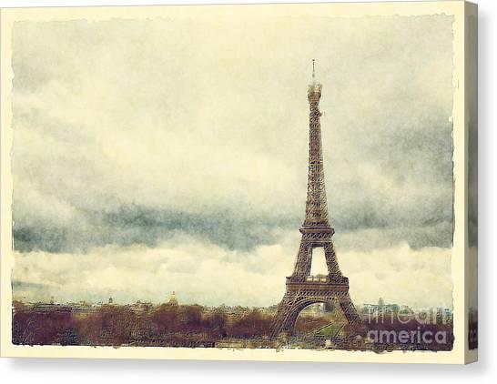 Paris Skyline Canvas Print - Eiffel Tower Watercolour by Jane Rix