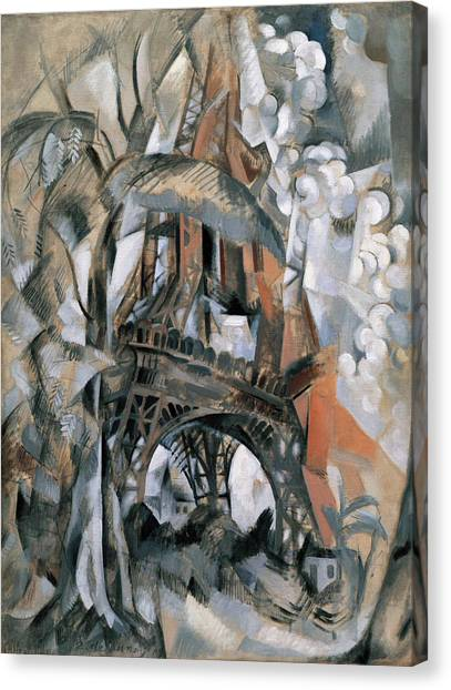 Lyrical Abstraction Canvas Print - Eiffel Tower With Trees by Robert Delaunay