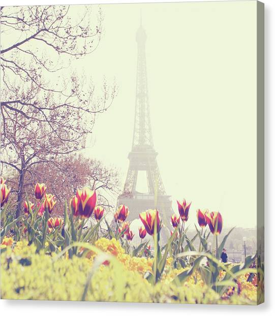 Cities Canvas Print - Eiffel Tower With Tulips by Gabriela D Costa