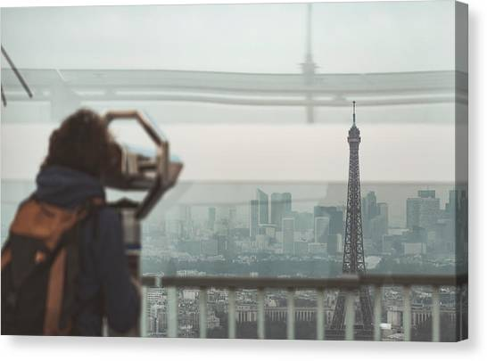 Canvas Print featuring the photograph Eiffel View by Nikos Stavrakas