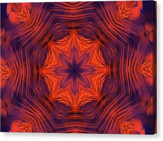 Eight Petal Orange Kaleidoscope Canvas Print