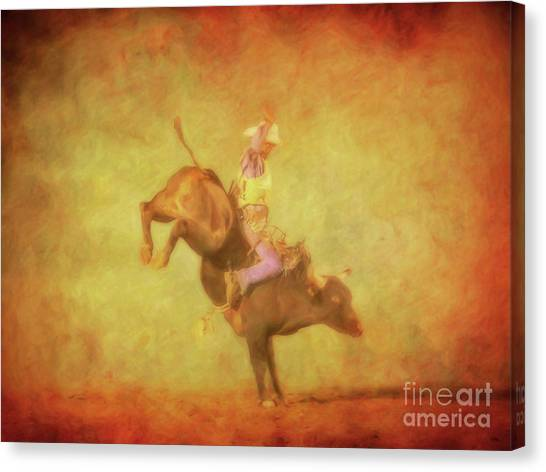 Bull Riding Canvas Print - Eight Seconds Rodeo Bull Riding by Randy Steele