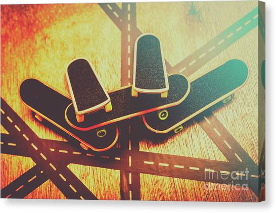 Skating Canvas Print -  Eighties Street Skateboarders by Jorgo Photography - Wall Art Gallery