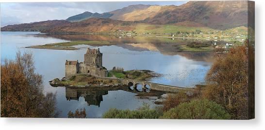 Eilean Donan Castle In Autumn - Panorama Canvas Print