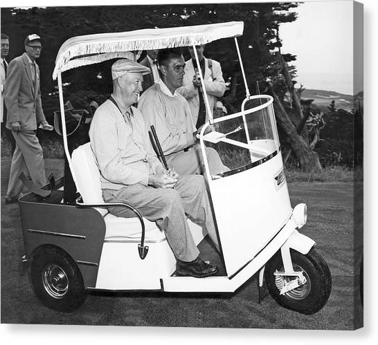 Golf Course Canvas Print - Eisenhower In A Golf Cart by Underwood Archives