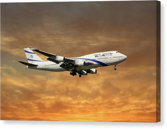 Israeli Canvas Print - El Al Israel Airlines Boeing 747-458 2 by Smart Aviation