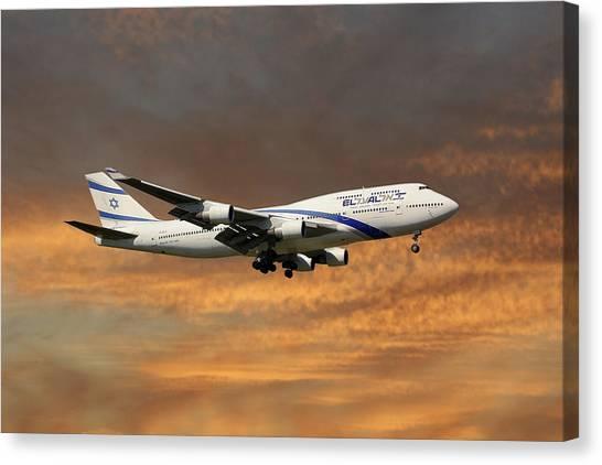 Israeli Canvas Print - El Al Israel Airlines Boeing 747-458 3 by Smart Aviation