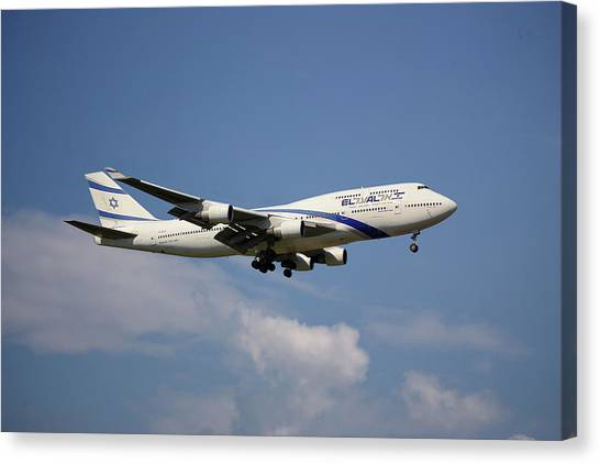 Israeli Canvas Print - El Al Israel Airlines Boeing 747-458 4 by Smart Aviation