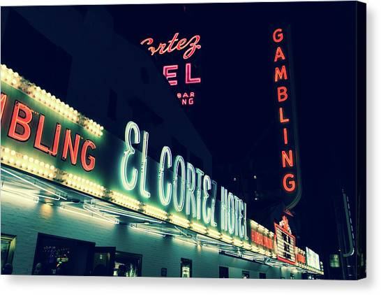 El Cortez Hotel At Night Canvas Print