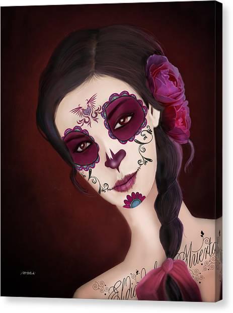 Dea Canvas Print - El Dia De Los Muertos Day Of The Dead Sugar Skull  by Maggie Terlecki