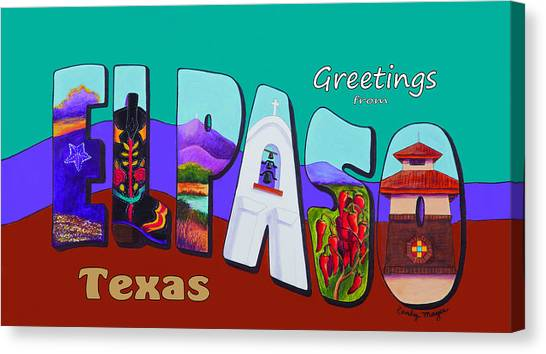 The University Of Texas Canvas Print - El Paso Postcard by Candy Mayer