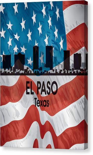 El Paso Tx American Flag Vertical Canvas Print