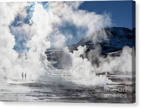 Andes Mountains Canvas Print - El Tatio Geysers In Chile by Delphimages Photo Creations