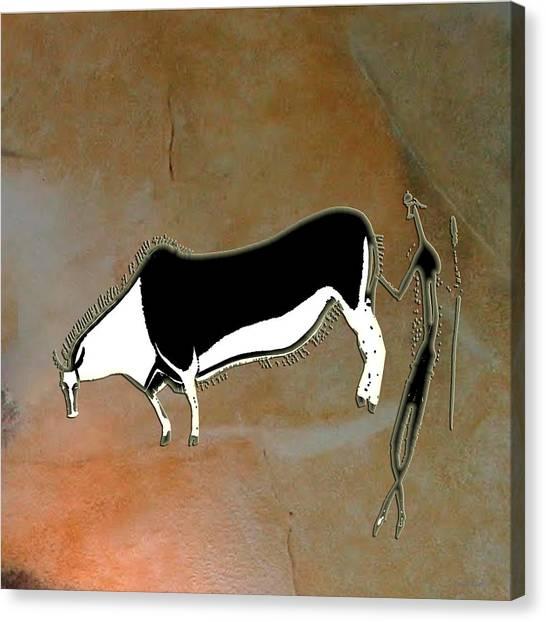 Eland And Man Canvas Print