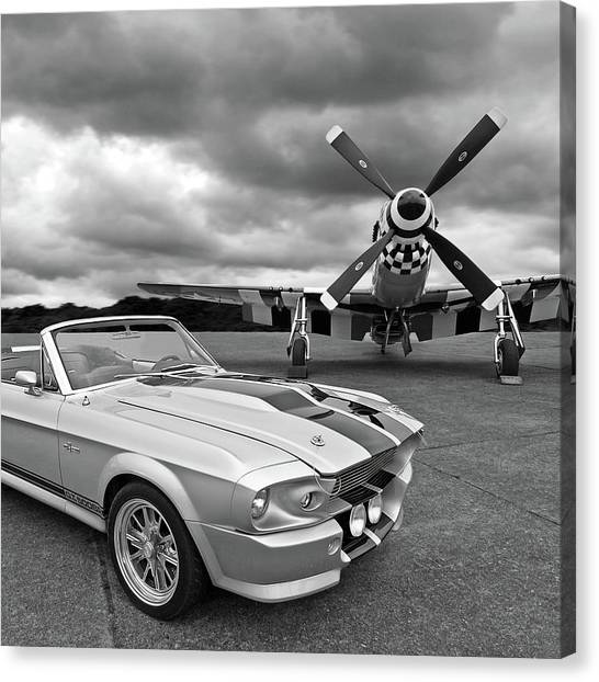 Flyer Canvas Print - Eleanor Mustang With P51 Black And White by Gill Billington