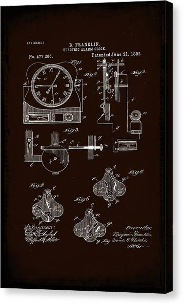 Ben Franklin Canvas Print - Electric Alarm Clock Patent Drawing 1a by Brian Reaves