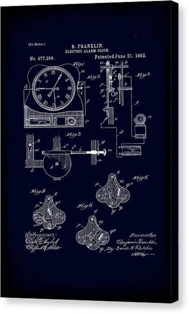 Ben Franklin Canvas Print - Electric Alarm Clock Patent Drawing 1b by Brian Reaves