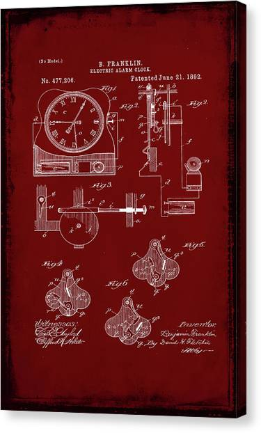 Ben Franklin Canvas Print - Electric Alarm Clock Patent Drawing 1c by Brian Reaves