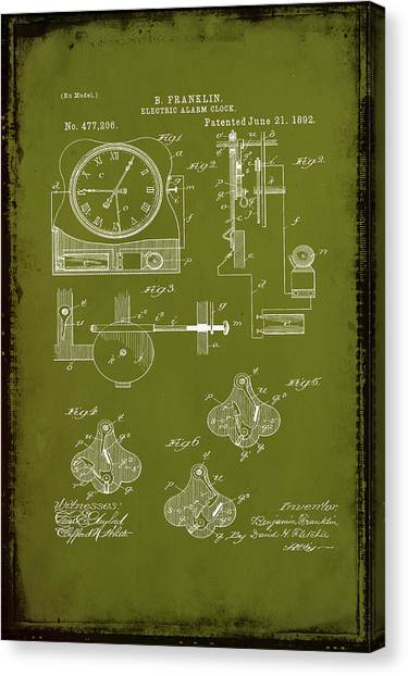 Ben Franklin Canvas Print - Electric Alarm Clock Patent Drawing 1d by Brian Reaves