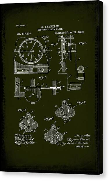 Ben Franklin Canvas Print - Electric Alarm Clock Patent Drawing  by Brian Reaves