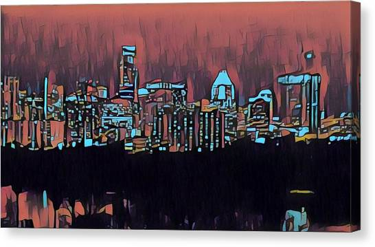 Electric Austin At Dusk Canvas Print