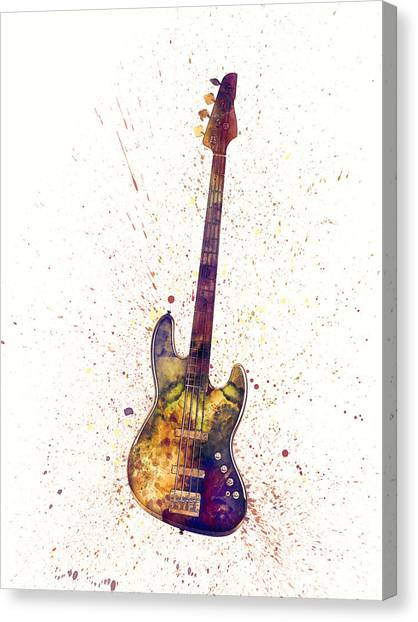 Bass Guitars Canvas Print - Electric Bass Guitar Abstract Watercolor by Michael Tompsett