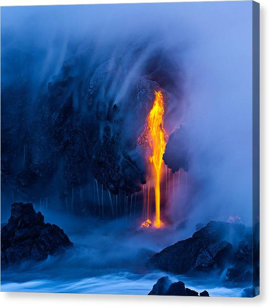 Lava Canvas Print - Electric Blue by Miles Morgan