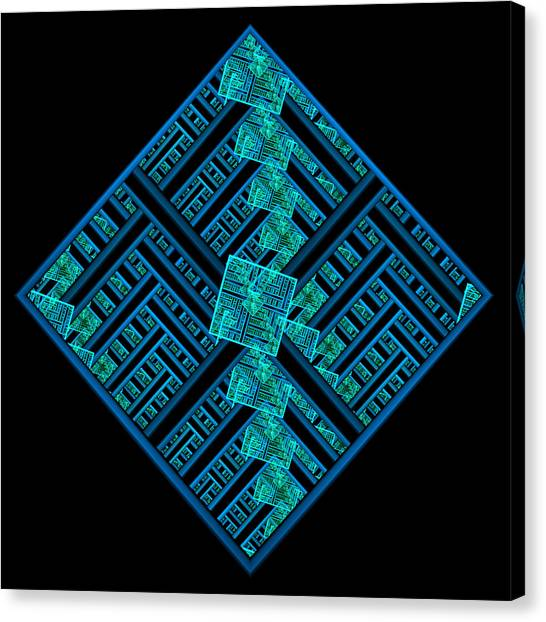 Electric Blue Squares Canvas Print