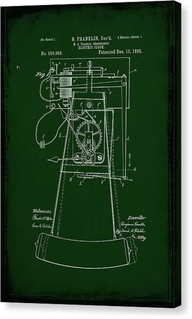 Ben Franklin Canvas Print - Electric Clock Patent Drawing 2a by Brian Reaves