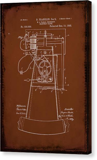 Ben Franklin Canvas Print - Electric Clock Patent Drawing 2b by Brian Reaves