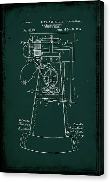 Ben Franklin Canvas Print - Electric Clock Patent Drawing 2c by Brian Reaves