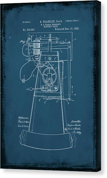 Ben Franklin Canvas Print - Electric Clock Patent Drawing 2d by Brian Reaves