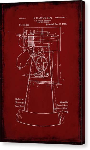 Ben Franklin Canvas Print - Electric Clock Patent Drawing 2e by Brian Reaves