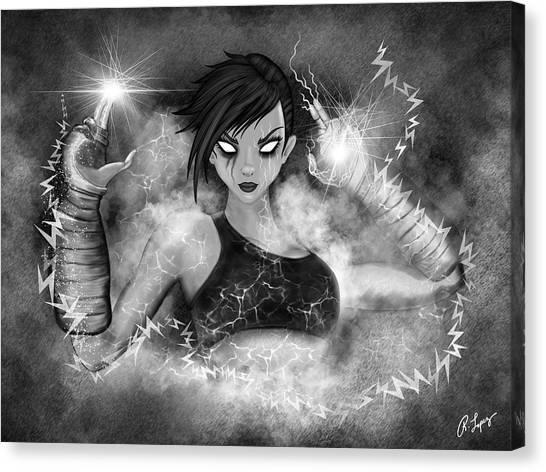 Electric Glitch - Black And White Fantasy Art Canvas Print