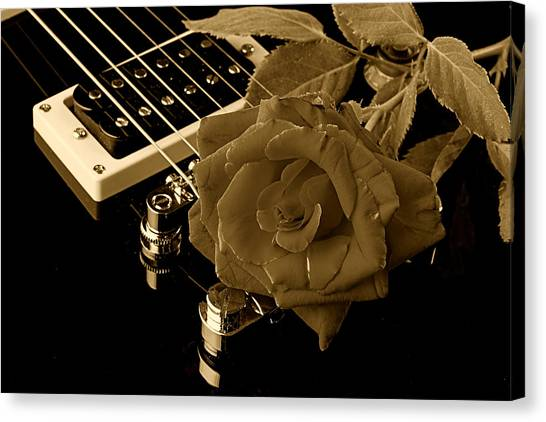Electric Guitar And Rose Canvas Print