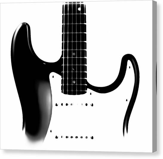 Guitar Picks Canvas Print - Electric Guitar Bw by Athena Mckinzie