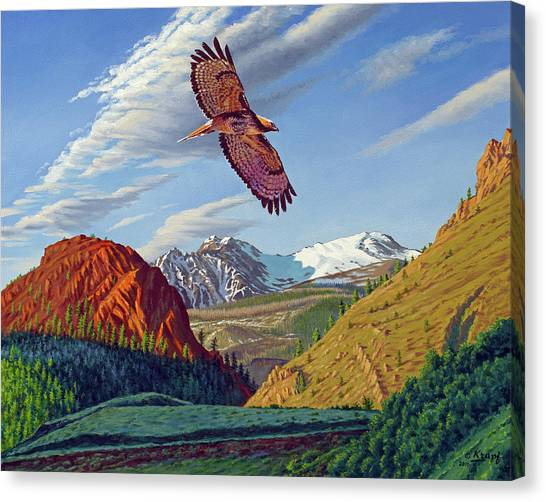 Hawks Canvas Print - Electric Peak With Hawk by Paul Krapf