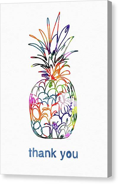 Thank Canvas Print - Electric Pineapple Thank You Card- Art By Linda Woods by Linda Woods