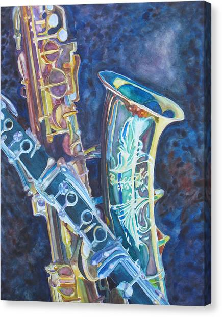Clarinets Canvas Print - Electric Reeds by Jenny Armitage