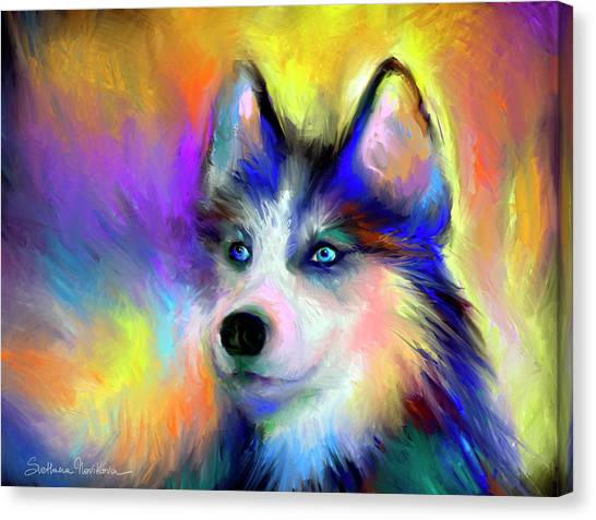 Breed Canvas Print - Electric Siberian Husky Dog Painting by Svetlana Novikova