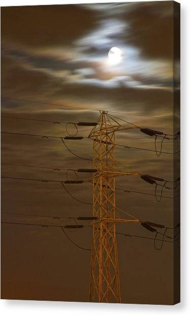 Electric Tower Under Supermoon Canvas Print