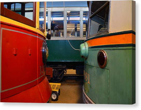 Thomas The Train Canvas Print - Electric Trains Nose To Nose by Thomas Woolworth
