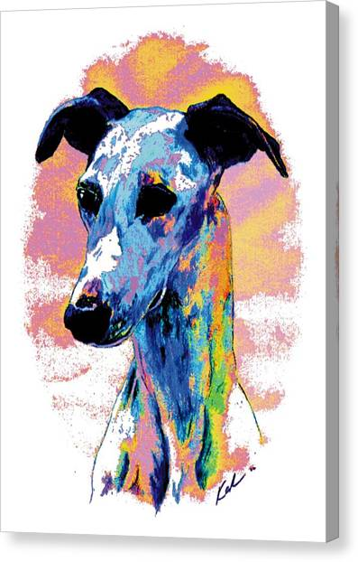 Sight Hound Canvas Print - Electric Whippet by Kathleen Sepulveda