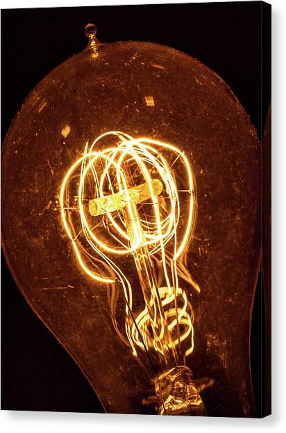 Canvas Print featuring the photograph Electricity Through Tungsten by T Brian Jones