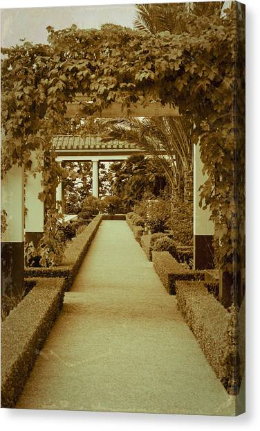 J Paul Getty Canvas Print - Elegant Aged Path by Teresa Mucha